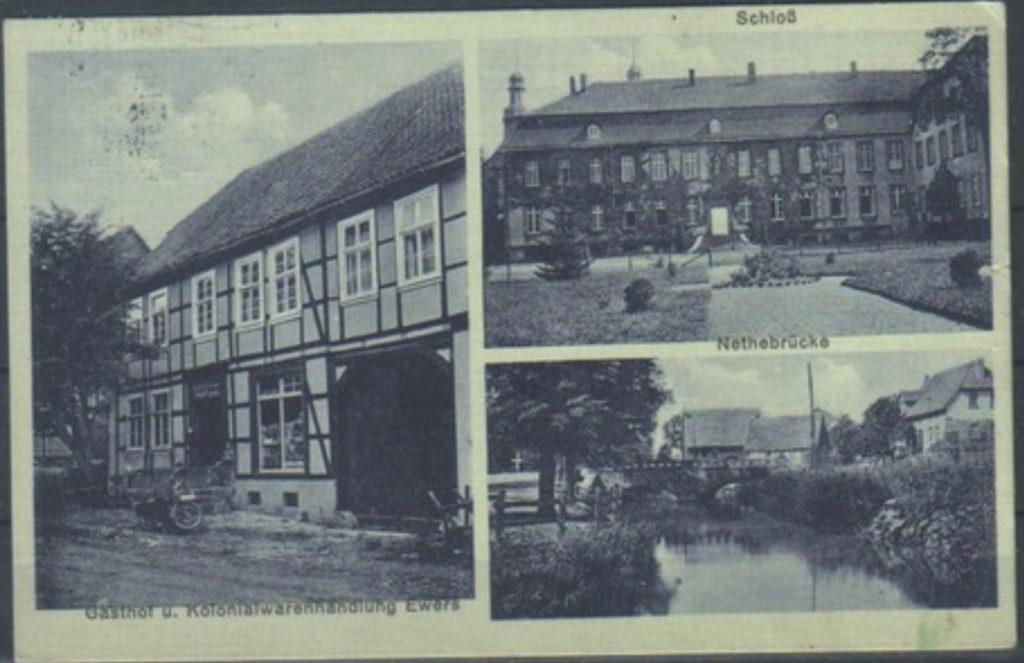 Postkarte von 1939 mit Gasthof Ewers, Schloß und Nethebrücke